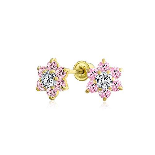 Kleine Rosa CZ Blume Ohrstecker Für Damen Für Jugendlich Zirkonia Simulierten Rosa Saphir 14K Gold Screwback
