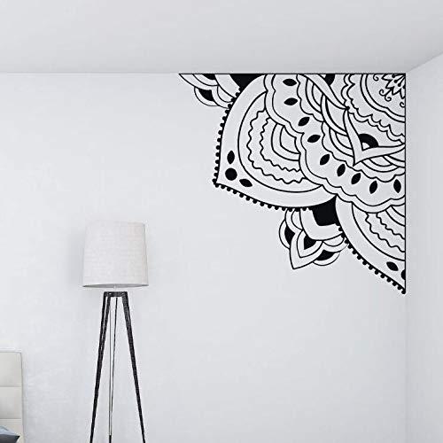 ASFGA Schöne Ecke Mandala Blume Vinyl Wandaufkleber Tür und Fenster Wohnzimmer Schlafzimmer Dekoration Yoga Raum Meditation Vinyl Wandkunst Aufkleber Geschenk 59x57cm