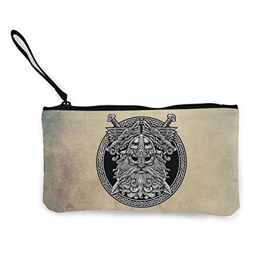 Circle Norse God Odin Wolf And Swords Graphic In The Ring Celtic Viking Warrior Tattoo Womens Girls Mens Coin Change Wallet Purse Pouch Zippered Make Up Cellphone Bag