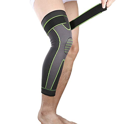 Bufccy Full Leg Compression Sleeve with Compression Strap for Women Men Long Leg Sleeve for Running Basketball Football Cycling 1 Pcs X-Large