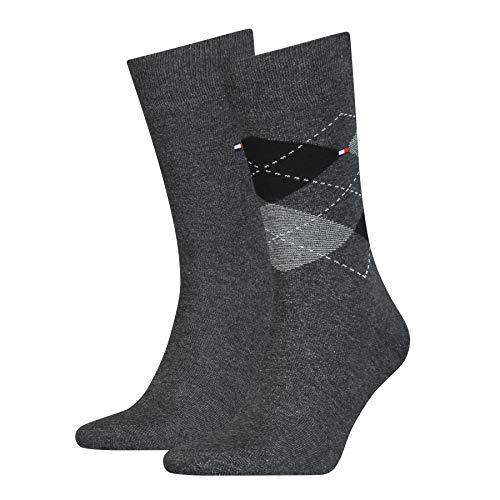 Tommy Hilfiger Herren Checkered Socken, Anthrazit, 43/46 (2er Pack)