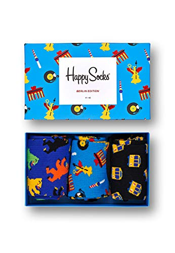 Happy Socks, bunt premium baumwolle Geschenkkarton 3 Paar Socken für Männer und Frauen, Berlin Edition (36-40)