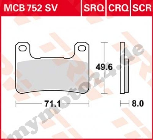 Bremsbelag TRW / Lucas MCB752CRQ, Carbon Hyper Racing ohne ABE für Kawasaki ZX-10R 1000 Baujahr 2008