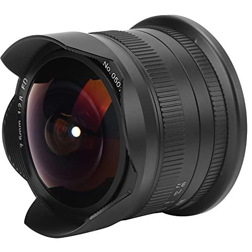 Obiettivo per Fotocamera Fisheye da 7,5 Mm F2.8 II Adatto per Fuji X-M1, X-PRO1, X-PRO2, X-PRO3, X-E1, X-E2, XE3, X-H1, X-A1, X-A10, X-A2, X -A20, Ecc. e Altri Corpi per Fotocamere con Attacco FX