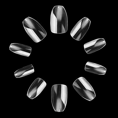 Makartt Coffin Nails Short 500pcs Press on Nails Full Cover Fake Nails Ballerina Nails Clear Nails for Nail Extension False Nails Soak Off Nail Tips 10 Sizes Acrylic Nails for Salons and DIY Nail Art