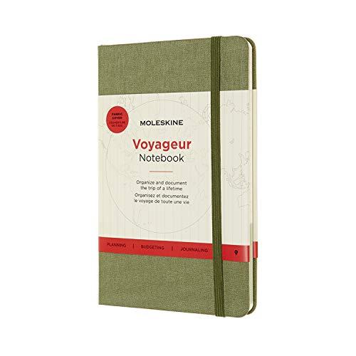 Moleskine Voyageur Notebook, Diario di Viaggio, Taccuino per Organizzare Viaggi, Copertina Rigida in Tessuto, Formato Medium 11.5 x 18 cm, Verde Olmo, 208 Pagine