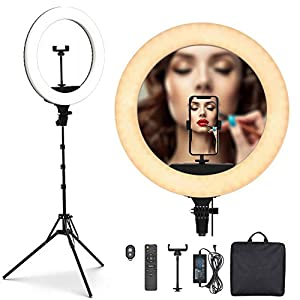 PoplarTrees Ring Light 18'' with Tripod Stand 65W, 3 Light Mode Remote Control 3200-5500K Dimmable CRI 95, Makeup Photography LED Ring Light for YouTube TikTok Video Shooting Including Carrying Bag