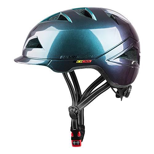 SUNRIMOON Casco de bicicleta para adultos con luz USB recargable, casco urbano de ciclismo ligero tamaño ajustable para hombre/mujer 20.47-23.62 pulgadas, CARBÓN NEGRO