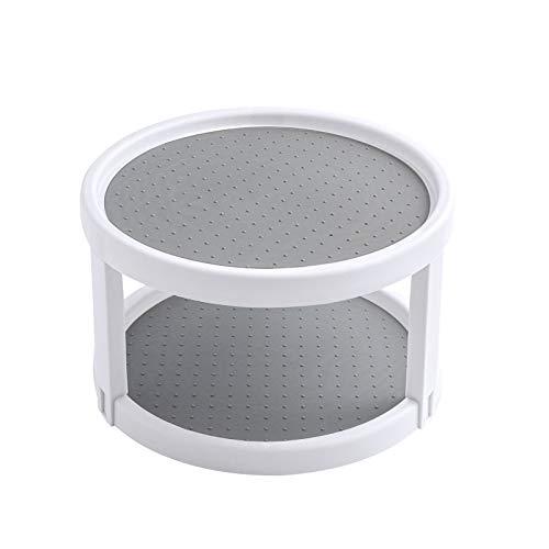 UHAPEER 360° Drehteller Gewürzregal 2 Ebenen, Gewürzhalter Kunststoff Lagerregal, Küchen Organizer, Schrank Aufbewahrung für Zuhause, Küche, Badezimmer