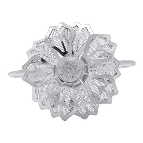 Janly Clearance Sale Decoración del hogar, exquisita flor de aleación servilleta anillo para decoración de banquetes de boda, para Navidad, hogar y jardín, (plata)