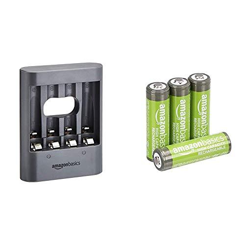 AmazonBasics - Pilas AA Recargables de Alta Capacidad, precargadas, Paquete de 4 (el Aspecto Puede Variar) + Cargador de Pilas USB, Color Negro