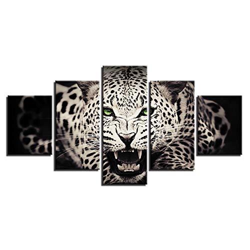 AJKCBAQ Canvas foto's muurkunst wooncultuur 5 PiecesGreen Eyed Leopard schilderij HD afdrukken dieren poster woonkamer