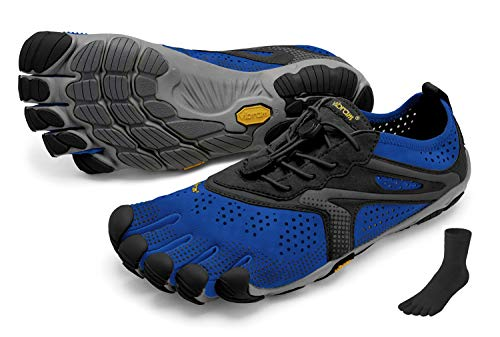 Fivefingers Vibram V-Run - Calcetines con dedos para hombre (talla 44), color azul y negro