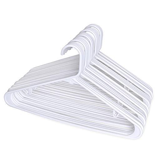 HOUSE DAY Perchas de plástico tubulares para Adultos 24pcs Perchas de plástico de luz Blanca 16.5 Pulgadas