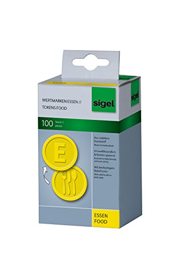 SIGEL WM002 Wertmarken Chips / Pfandmarken Essen, gelb, 100 Stück