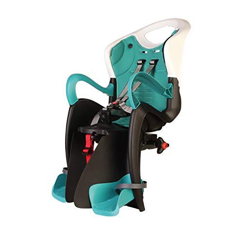 b bellelli Tiger - Seggiolino Posteriore per Bicicletta - per Bambini Fino a 22 kg, da 3 a 8 Anni - Si Fissa al Telaio - Turchese Bianco