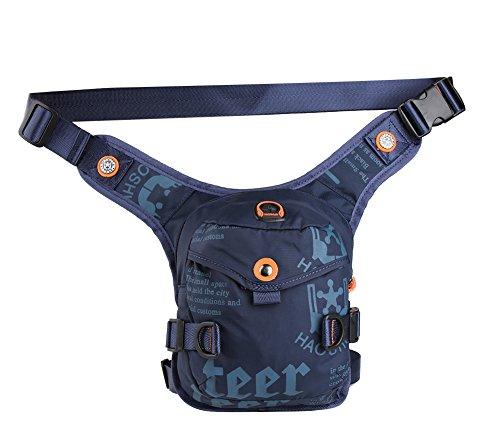 Genda 2Archer Bolso de la Pierna del Muslo Elegante Bolso de Nylon de la Cintura Para los Deportes que van de Excursión que Sube el Ciclo (Azul Oscuro)
