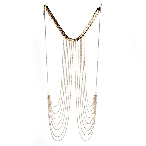 F Fityle Sexy Harness Bikini Multi Schichten Belly Body Chain Halskette Promi Geschenk
