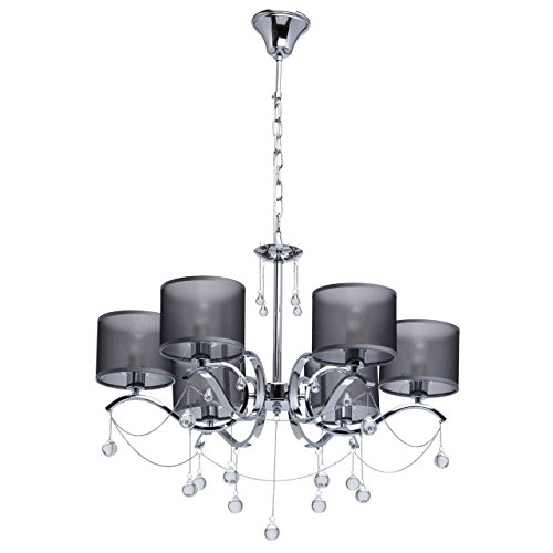 MW-Light 379019006 Jugendstil Kronleuchter Modern Chrom Metall Silber mit Kristall Klar Grau Textilschirme 6 Flammig x 40W E14