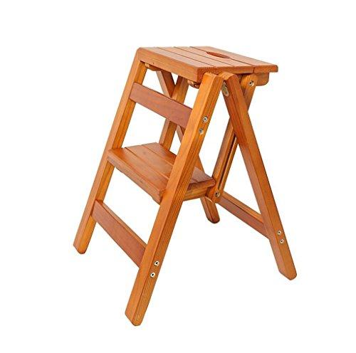 GJ-TD Krukken Effen Houten Ladder Stoel Multifunctionele Houten Ladder Stoel Opvouwbare Planken Ladder met 2 Stappen voor Home Decoratie en Bibliotheek