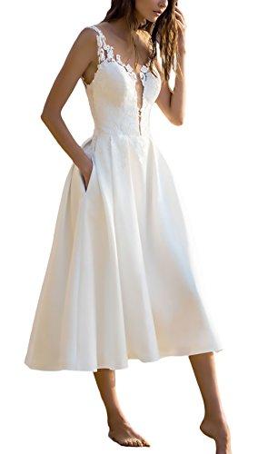 Vestidos De Fiesta para Bodas Mujer Elegantes Sin Mangas Ropa Dama Moderno V Cuello Una Línea Fashion Bonita Vestido Fiesta Vestidos Coctel Blanco S-XL (Color : Blanco, Size : M)
