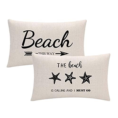ULOVE LOVE YOURSELF Funda de cojín con diseño de estrella de mar, color negro, para decoración de playa, para verano, vacaciones, playa, madera, 30,5 x 50,8 cm, juego de 2