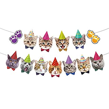 Kitten happy birthday ribbon banner perfect to decorated your cat garland Supplies theme birthday party!
