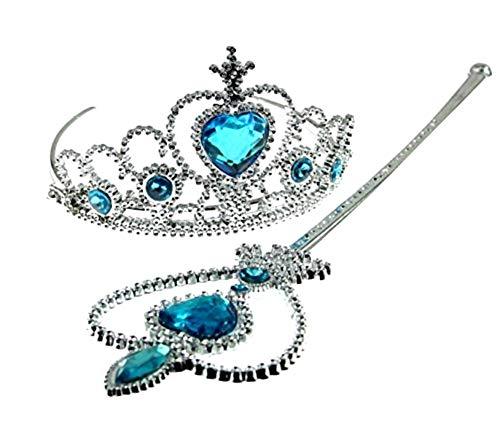 Set Costume - Travestimento - Carnevale - Halloween - Principessa Elsa - Frozen - Colore blu - Corona - Bacchetta - Scettro Magico - Bambina - Idea regalo per natale e compleanno