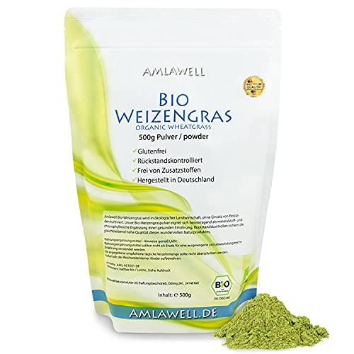 Amlawell Bio Weizengras Pulver - Vegan - Superfood - mit Vitalstoffen - aus deutscher Herstellung - in 500 g Packung erhältlich - DE-ÖKO-042