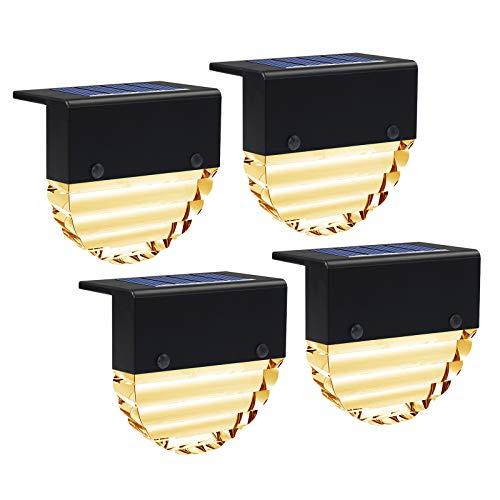 Solarlampen für Außen, KNMY Wasserdichte Solarleuchten Gartenleuchte, Solar Zaun Lampe für 2 Modi, Solarlampen Garten für Terrasse, Treppe, Stufe und Zäune, Farbwechsel/Warm Weiß (4 Stück)