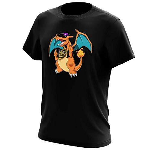 Okiwoki T-Shirt Noir Pokémon parodique Jeux Vidéo - Parodie de Dracaufeu de Pokémon : DracauThug.! (Parodie Pokémon)