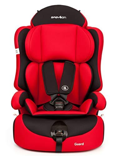 Babylon Guard Seggiolino auto Gruppo 1/2/3, seggiolino per bambini 9-36kg poggiatesta regolabile ECE R44 / 0 Rosso