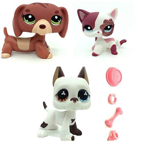 WooMax Pet Shop Toy LPSs Juguete perro salchicha granate, gato rosa brillante + cachorro blanco danés con 4 piezas de repuesto LPSs para niños y niñas regalo