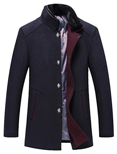 Mallimoda Herren Mantel Slim Fit Wolljacke Übergröße Business Windbreaker Lange Trenchcoat Jacken (L, Dick Navy)