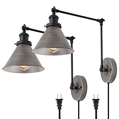 LNC Swing Arm Wall Lamp Modern Plug in Wall Sconce Hardwired Adjustable Farmhouse Wall Light Fixture, Brushed Antique Silver (2 Pack)