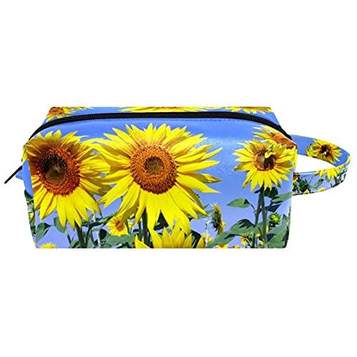 Bolsa de aseo de viaje para colgar cosméticos para mujeres y niñas, impermeable, diseño de girasol, flor amarilla