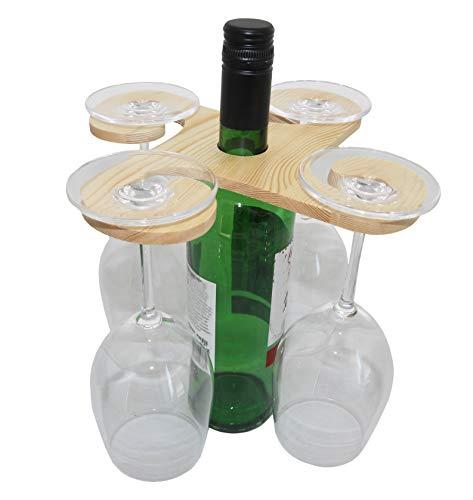 Rukauf wijnflessen en glazenhouder van hout voor 4 glazen - wijnbuttler Wine-Caddy wijnglas-hanger wijnglas-houder