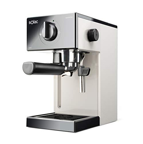 Solac CE4505 Squissita Easy Ivory - Cafetera espresso, 20 bar, Double Cream, Para Espresso y Cappuccino, 1050 W, Portafiltros 1 ó 2 cafés, Monodosis/molido, Vaporizador de acero inox, 1.5 l, Marfil