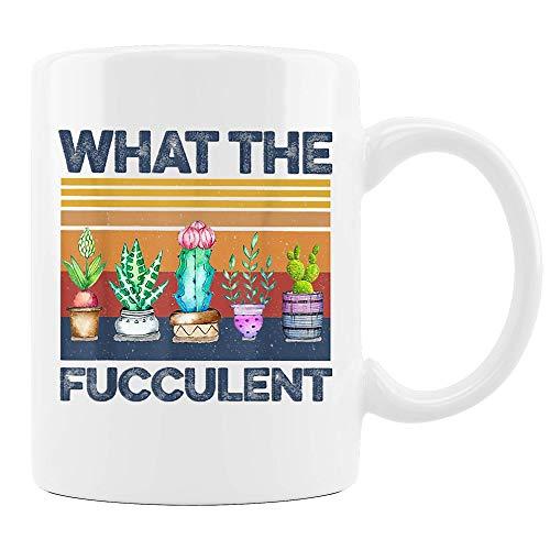 What The Fucculent Retro Vintage Cactus Succulent Plant Gardening Gift Ceramic Coffee Mug, Cup 11oz, 15oz (11Oz)