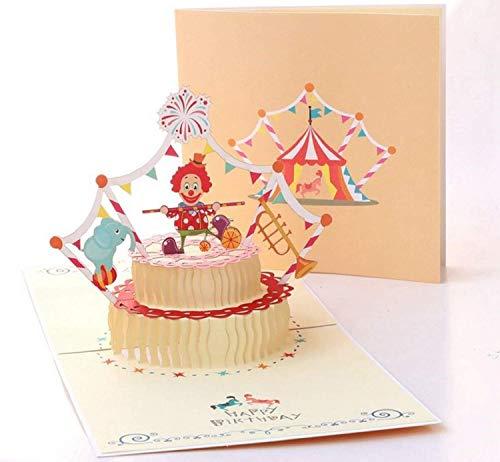 BC Worldwide Ltd hecho a mano 3D pop-up tarjeta de cumpleaños payaso circo carpa caballo elefante jumbo trompeta bandera fuegos artificiales torta niño niño socio novia novio