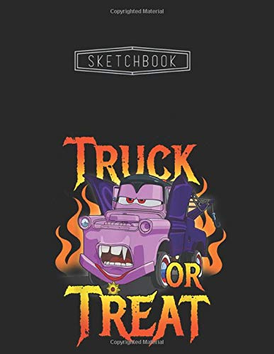 Sketchbook: Disney Pixar Cars Halloween Vampire Truck Or Treat Unlined 8.5''x11'' White Paper Blank Sketchbook 111 Pages with Black Cover A Perfect ... Kid - Artists - Creative People And Students