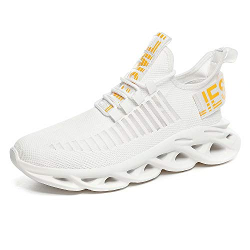 GSLMOLN Herren Sportschuhe Schnürschuhe Atmungsaktiv Moderne Freizeit Sneaker Schuhe Outdoor Laufschuhe Low-Top Bequeme Turnschuhe Weiß 40