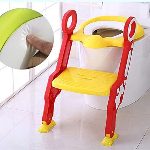 Vinteky Riduttore per WC - con scala regolabile antiscivolo, sedile per WC pieghevole per bambini 1-7 anni (Rosso)
