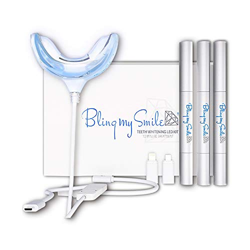 Bling My Smile Teeth Whitening Kit with LED Light, Mouth Tray, and Peroxide Gel Pens, Natural Whitener and Stain Remover, Quick 10-Minute UV Led White Treatment