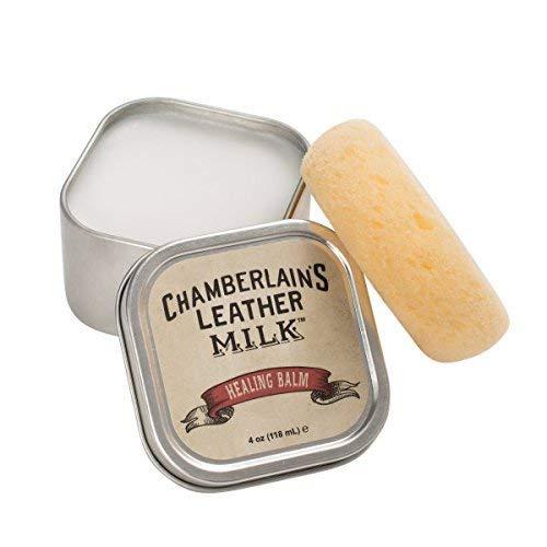 Chamberlain's Leather Milk - Healing Balm - lederen conditioner - diep effectief - voor verhard, gebarsten en bekrast leer - natuurlijke basis/niet giftig - Made in de VS - 1 spons
