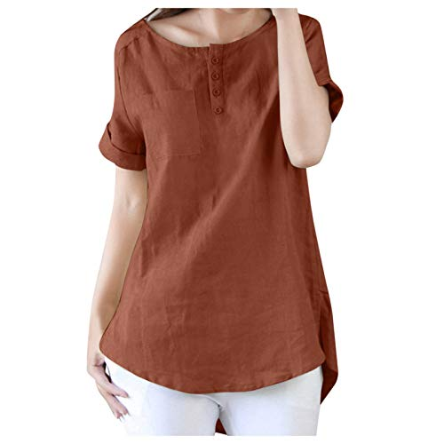 Blusa de manga larga para mujer, diseño floral bordado, camiseta de manga larga sólida, túnica marrón XXXL