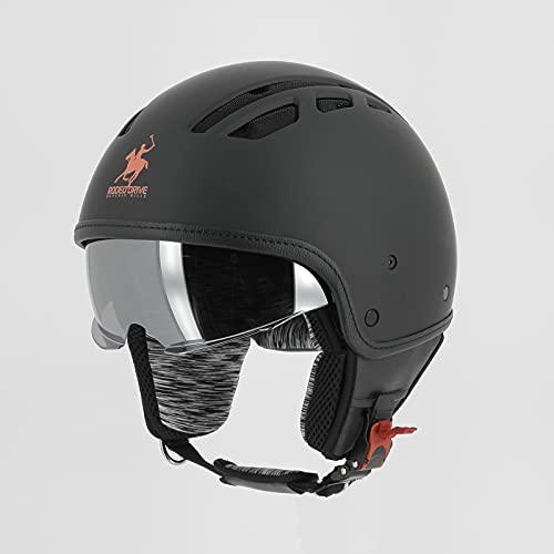 RODEO DRIVE RD114 Areato, casco omologato ultracompatto con visiera parasole, nero opaco, L