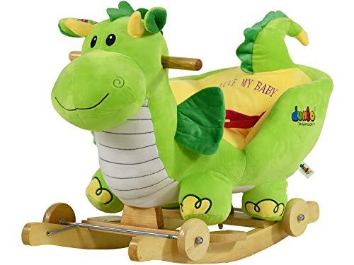 Dunjo Schaukeltier Schaukelpferd Dino aus Plüsch mit Sitz, Sicherheitsgurt, Rollen und Soundmodul, für Babys und Kleinkinder ab 1 Jahr