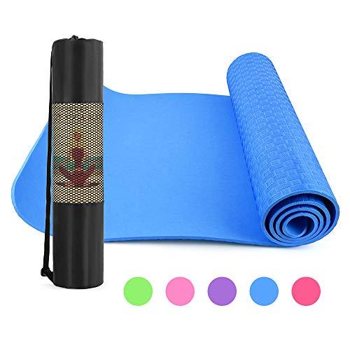 Lixada Tappetino Yoga NBR Antiscivolo 183 * 61 * 0,6cm, Tappeto Fitness con Borsa per Trasporto in Rete per Pilates Allenamento a Casa Esercizio in Palestra Allenarsi