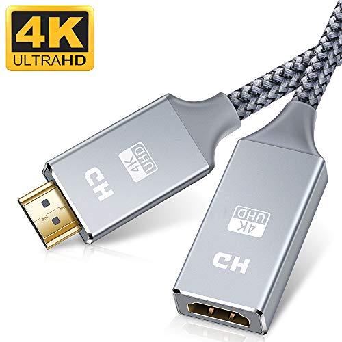 Snowkids HDMI-Verlängerungskabel, 4 K @ 60 Hz, HDMI-Verlängerungskabel, Nylon Briaded HDMI-Stecker auf HDMI-Buchse, kompatibel mit Roku Fire Stick, Laptop, PS4, HDTV, Monitor, Projektor 1m grau